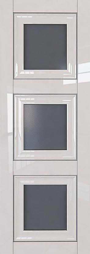 Межкомнатная дверь L 97, стекло Графит, молдинги Серебро