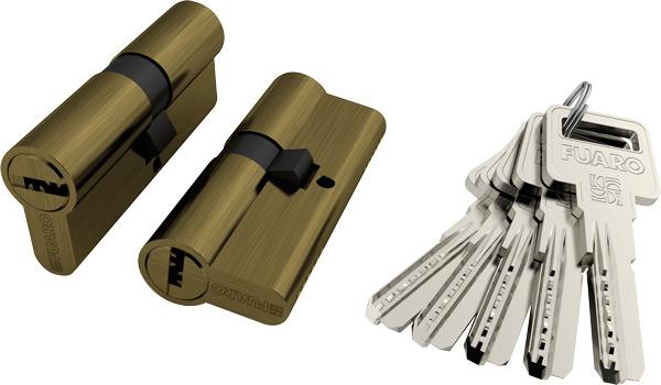Цилиндровый механизм R600/70 mm-BL (30+10+30) BBP латунь 5 кл. БЛИСТЕР