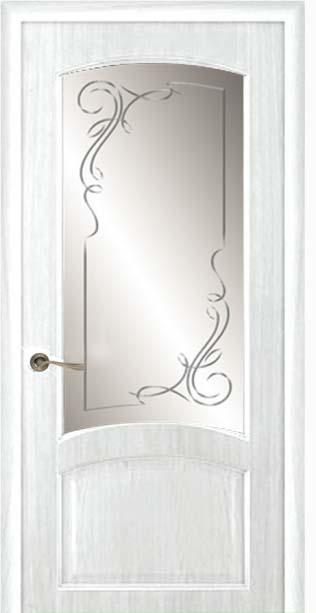 Межкомнатная дверь Дариано  Ривьера гравировка Альфа ясень бланко