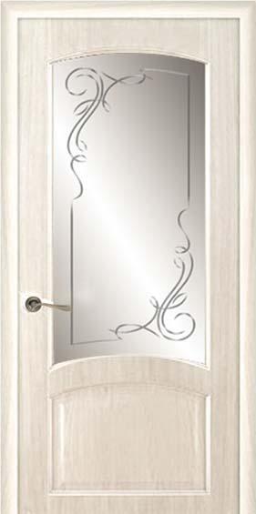 Межкомнатная дверь Дариано  Ривьера гравировка Альфа ясень карамель