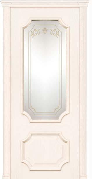 Межкомнатная дверь Дариано  Неаполь контурный витраж Мишель ясень карамель
