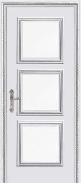 Межкомнатная дверь Дариано  Корфу стекло Фацет эмаль шиншилла патина серебро